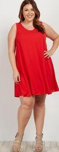 NWT red chiffon vneck dress